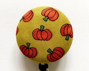 Pumpkins Badge Reel - Fall Badge Reel - Retractable Reel - Name Badge - Badge Clip - Halloween Badge Reel - Nurse Gift - Fabric Badge Reel