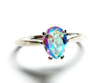 "Rainbow topaz, topaz ring, pink green ring, rainbow topaz ring, pear, solitaire ring, s 6 1/2 ""Banana Split"""
