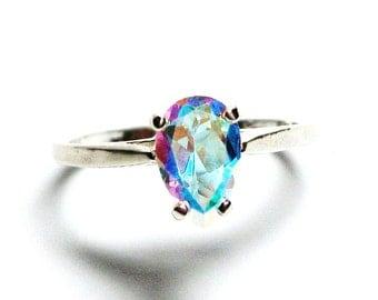 "Rainbow topaz, topaz ring, pink green ring, rainbow topaz ring, pear, solitaire ring, s 6 1/2 ""Banana Split"""
