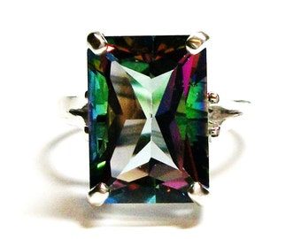 "Mystic Topaz,emerald topaz ring, blue pink green, solitaire topaz ring, birthstone ring, s 6 1/2 ""Caribbean Splash"""