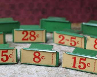 1 Vintage Green Metal Merchantile Stand with Price Tag