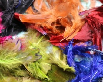1 Bag Antique Small Soft Millinery Feathers in Six Colors
