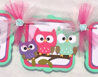 Owl family baby shower banner, owl baby shower, owl banner, owl decorations, it's a girl banner, baby shower banner, pink and purple