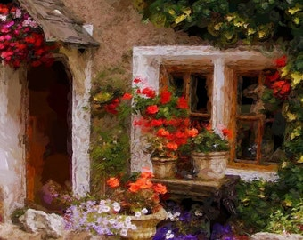 Cottage Flowers Painting Print - Free Shipping