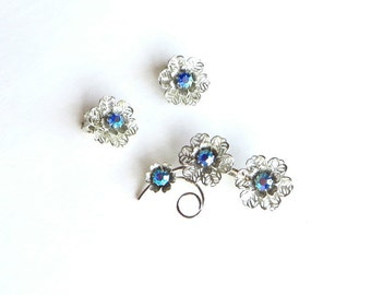 Blue Aurora Borealis Earring with Matching Brooch 1960s Jewelry Retro Demi Parure Light Blue Rhinestone Pin and Earring Set
