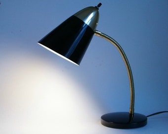 Gooseneck Desk Lamp, Mid Century Gooseneck Light, Black Gold Lamp