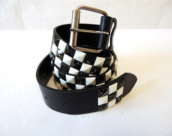 Studded Belt Leather Black And White Checkerboard Med 30-32