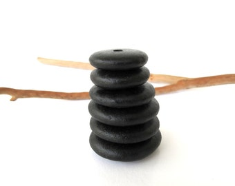 Natural Stone Cairn Mediterranean Beach Stone Stacks Pebble Rock Donut Beads River Stone Spacers BLACK WHEELS 18-28 mm