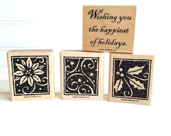 Stampin' Up Happiest of Holidays Stamp Set, Retired Holiday Rubber Stamps, Christmas