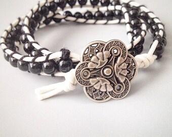 boho wrap bracelet beaded wrap bracelet unisex wrap bracelet mens bracelet women bracelet biker bracelet for him for her