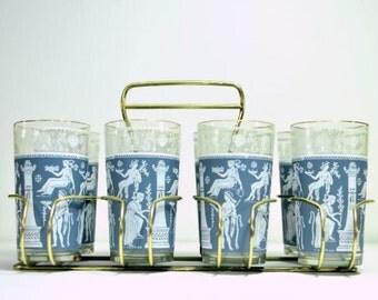 Vintage Jeannette Corinthian Blue Glasses:  Set of 8 Wedgewood Blue Hellenic Mediterranean Gold Trimmed Greek Pattern with Metal Carrier