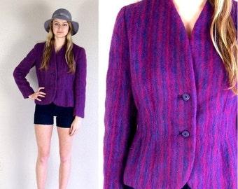 Half Off vtg 70s purple TAILORED colorful striped MOHAIR JACKET blazer Large skinny boho