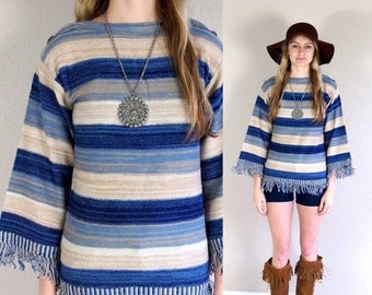 vtg 70s BELL SLEEVE space dyed Fringe SWEATER striped Small blue tan knit top hippie boho