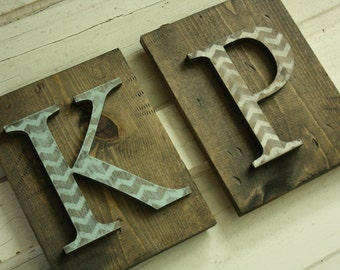 Wood letter sign- CHOOSE letter- Natural wood and Chevron- Wall hanging nursery letter