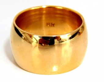 14Kt 11.5mm Wide Gold Band Size 7.25