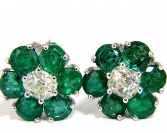 2.71ct natural vivid green emerald diamond earrings 14kt cluster