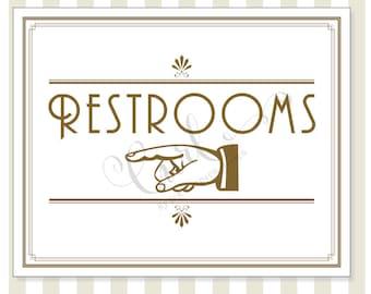 Printable Restroom Signage, Art Deco Reception Signage, Party Sign, 8x10 Gold Wedding Signage