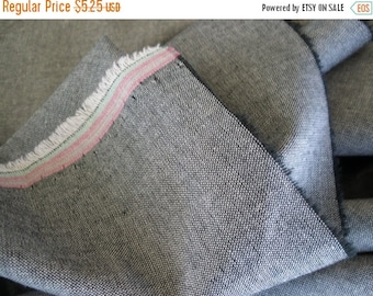 "Charcoal Gray Chambray fabric- BTY 61""W yards yardage cotton Quilting Sewing woven 1/2"" selvedge grey fabric"
