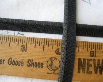 "Flat x 1 Piping Charcoal Black apron Trim Lip Cord 3/8"" bias tape 1/8"" Lip Edging crazy Quilt Pillows choose yardage embellish apron edge"