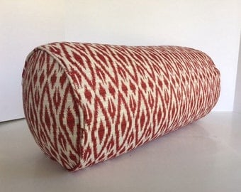 Red Ikat Bolster in Red Hot Pepper Fabric - includes Insert
