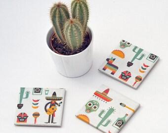 Mexico Inspired Coasters Mexican Illustration Cinco de Mayo Travel Ceramic Tile Coasters