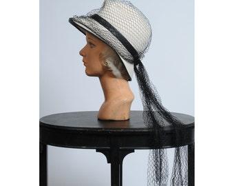 vintage hat/ vintage Frank Olive veiled fedora