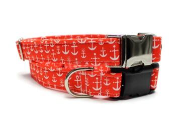 Dog Collar | Anchor Dog Collar | Your choice of metal buckle or plastic buckle | Boy Dog Collar | Summer Dog Collar | Nautical Dog Collar