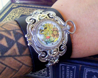 Steampunk Leather Cuff (C601) Adjustable Snaps, Black Leather, Silver Fancy Brass Stamping, Faux Pocket Watch, Mens Size