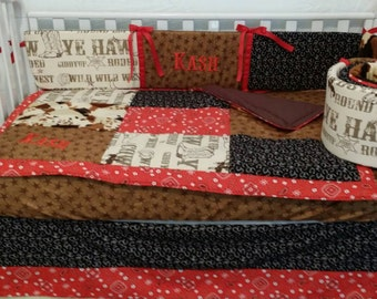 Baby beeding, crib set Cowboy Rodeo 3 piece set/ Custom made and embroidered/personalized/monogrammed cow print ON sale, ONLY 4 AVAILABLE!!