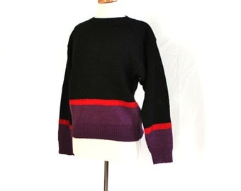 Minimalist Anne Klein black knit sweater / retro designer fashion 1970s or 80s / color block / wool & cotton blend womens medium