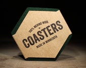 100% Wool Hexagon Felt Coasters - 5mm Thick German-milled Felt - Rich, Lightfast Colors - Natural and Renewable - Dark Green