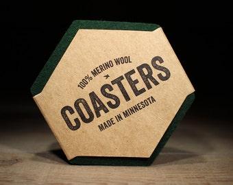 100% Wool Hexagon Felt Coasters - 5mm Thick German-milled Felt - Rich, Lightfast Colors - Natural and Renewable - Dark Green