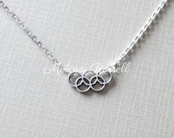 Olympic rings silver charm necklace, Rio, 2016, Gymnastics, Simone Biles, Michael Phelps