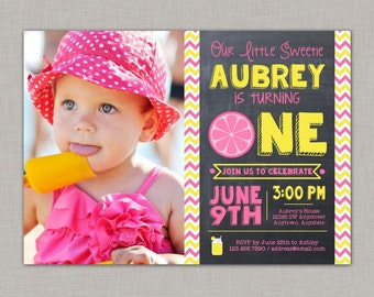 Lemonade Invitation, Lemonade Birthday Invitation, Lemonade First Birthday