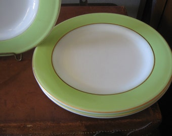 Pyrex chartreuse rim gold trim luncheon plates set of 3 bright green