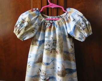 Girls Peasant Dress - This Way to the Beach - Short or Three Quarter Sleeve - Size 6M to Size 14 - Made to Order