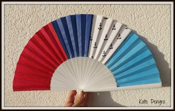 Sailor Nautical Themed Beach Ocean SIZE OPTIONS Sea Sailing Flamenco Painted Wooden Folding Hand Handheld Fan by Kate Dengra from Spain