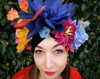 Carmen Miranda inspired floral headdress turban