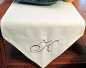 Custom Embroidered Table Runner 16x36 Linen Look Monogram or Custom Initial Wedding Gift Anniversary Gift Wedding Shower Gift