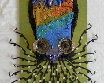 Recycled Assemblage - The Opalescent Octopus - Found Object Art - Mixed Media Assemblage by Jen Hardwick -Free US Shipping