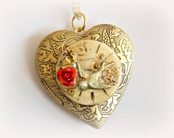 "Steampunk Heart Necklace Locket ""Love is on the Wing"""