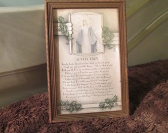 "1940s Religious Poem Mother Mary Poem Framed / ""Lovely Lady"" Poem 1940s Beautiful"