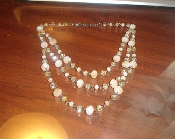 vintage necklace silvertone chain triple strand glass beads