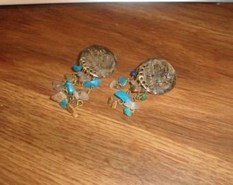 vintage clip on earrings silver gemstone dangles indian