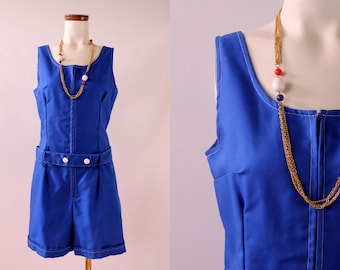 Vintage 60s - Royal Blue Zip Up Belted - Sleeveless Tank - Shorts Suit Onesie Romper Playsuit