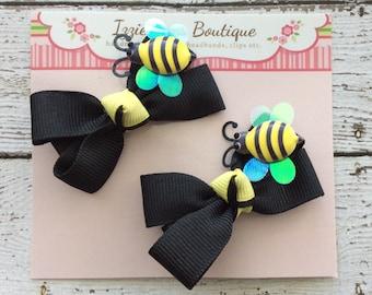 Set Bumble Bee Bow Hair Clips, Black Yellow, Alligator Clips, Girls Hair Clips, Grosgrain Ribbon Bow