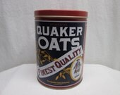 Quaker Oats Tin 1992, collectible tins, kitchen canisters, kitchen decor, storage supplies