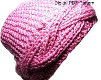 Big Reversible Braid Hat Knitting Pattern PDF Instant Download Knitting Pattern Is not a finished product. It is a PDF Pattern