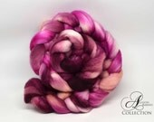 Hand painted Merino Wool Top for Spinning or Felting Rosebud