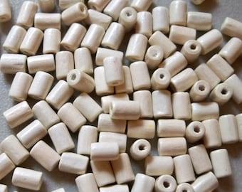 Cream colored Wood Tube Bead-8mmx5mm-100 PCS